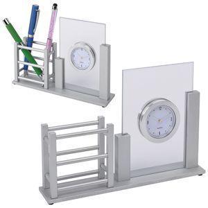 Подставка для канцелярских принадлежностей с часами и фоторамками
